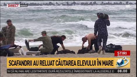 Scafandrii militari s-au alăturat operațiunii de căutare a elevului dispărut în mare, în Mamaia