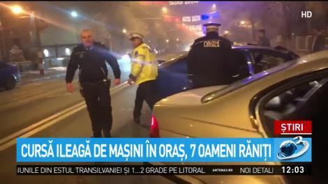 Șapte răniți, în urma unei curse ilegale de mașini, în mijlocul orașului. Polițiștii fuseseră în zonă cu zece minute înainte