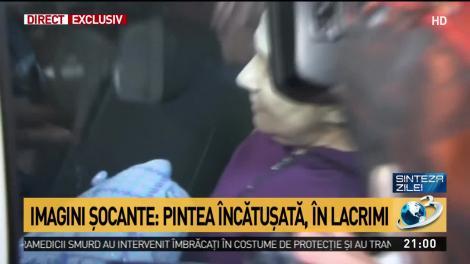 Sorina Pintea încătușată în lacrimi de către polițiștii bucureșteni. Nu a avut nicio reacție în fața reporterilor