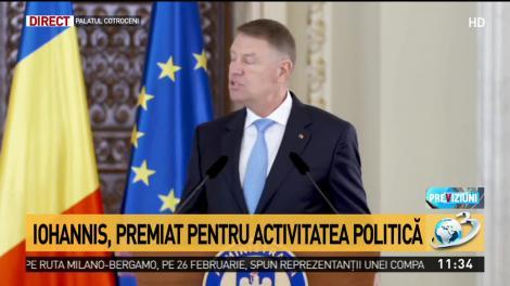 Președintele Klaus Iohannis a fost premiat pentru activitatea politică