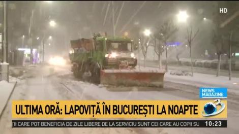 Lapoviță și ninsoare în București la noapte