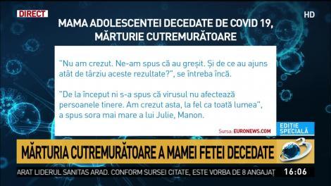 """Julie, ucisă de o formă rară de coronavirus. Mama fetei, mărturisiri sfâșietoare: """"Ni s-a spus să nu ne facem griji, că nu afectează tinerii!"""""""