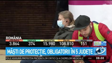 Măștile de protecție, obligatorii în cinci județe din România. Oamenii, nevoiți să-și acopere gura și nasul în spațiile aglomerate