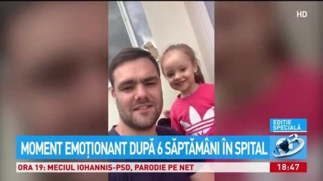 """Reacția emoționantă a fetiței care și-a văzut tatăl, vindecat de coronavirus, după șase săptămâni: """"Tati, mi-a fost dor de tine!"""" - VIDEO"""