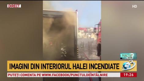 Primele imagini din interiorul halei incendiate, de pe Bulevardul Metalurgiei din București | VIDEO