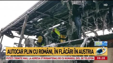 Video. Un autocar cu zeci de români a luat foc, pe o autostradă din Austria! Flăcările, văzute de la kilometri distanță