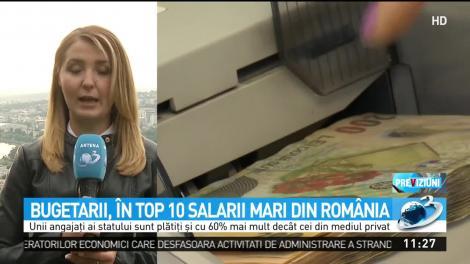 Bugetarii, în top 10 salarii din România. Venituri mai mari decât cei din mediul privat în ultimele luni