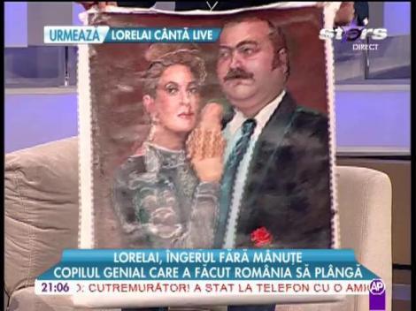 EXCLUSIV! Lorelai a pictat cu picioarele un tablou cu soţii Doina şi Ion Aldea Teodorovici