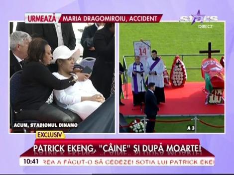 Ultimul salut pentru Patrick Ekeng! Imagini tulburătoare cu soţia, lângă sicriul fotbalistului, depus pe stadionul Dinamo