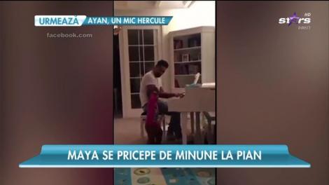 Maya le calcă pe urme părinţilor ei! Se pricepe de minune la pian
