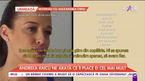 Andreea Raicu a intrat în bucătărie şi s-a pus pe treabă! Ne găteşte una dintre reţetele sale preferate