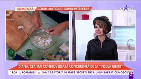 """A concurat pentru inima lui chef Scărlătescu, iar acum își demonstrează calitățile de bucătăreasă! Diana de la """"Insula Iubirii"""" a gătit, în direct"""
