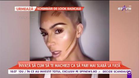 Kim Kardashian ne vinde toate trucurile! Artista te învaţă cum să te machiezi ca să pari mai slabă la faţă