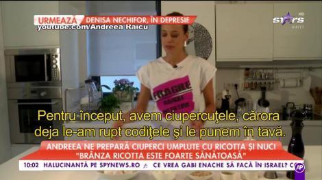 Andreea Raicu ne prepară ciuperci umplute cu ricotta şi nuci