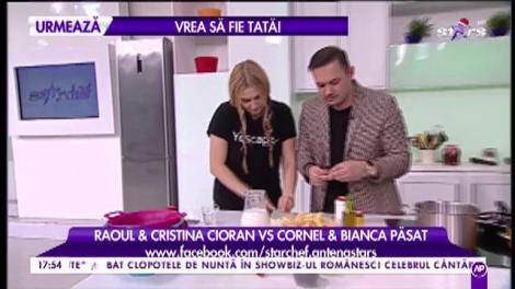 """Marea competiție culinară continuă! Raoul și Cristina Cioran gătesc """"Tagliatelle cu nuci"""""""