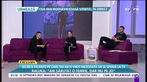 """Vescan și Raluka răspund la cele mai incomode întrebări. Raluka: """"Am sărutat o femeie, dar nu pe JO"""""""