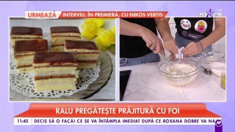 Raluca pregătește prăjitură cu foi