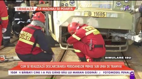 ISU, demonstrație, în direct. Cum se realizează descarcerarea persoanelor prinse sub tramvai