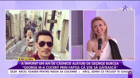 """Andreea Bălan a împlinit un an de căsnicie alături de George Burcea: """"George m-a cucerit cu faptul că știe să gătească"""""""