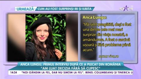 """Anca Lungu, primul interviu după ce a plecat din România: """"Mă bucur de ultimele săptămâni de sarcină"""""""