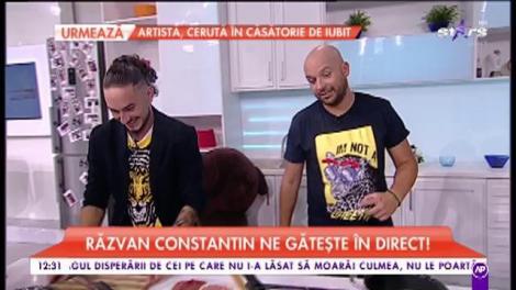"""Răzvan Constantin, fost concurent la """"Chefi la cuțite"""", cântă și gătește în platoul matinalilor"""