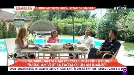 """Crina Abrudan şi Gabi Popescu, interviu la dublu: """"Am vrut să facem nunta mai devreme"""""""