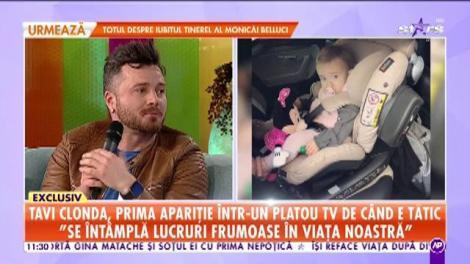 Tavi Clonda, prima apariție într-un platou TV de când e tătic. Gabriela Cristea i-a mai dăruit o fetiță