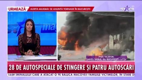 Incendiu puternic la un depozit din Afumați. Acționează 28 de autospeciale de stingere