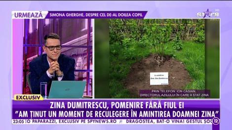 Zina Dumitrescu, pomenire fără fiul ei