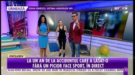 Agenţia VIP. La un an de la accidentul care a lăsat-o fără un picior, Stela Bizdu face sport, în direct: Înainte accident îmi era lene să merg la sală