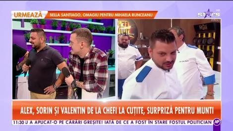 Star Matinal. Alex, Sorin și Valentin de la Chefi la Cuțite, surpriză pentru Munti. Chefii invitați gătesc un tort