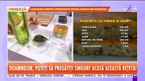 Reţeta lui Chef Munti de la Star Matinal: Placintă cu varză şi iaurt