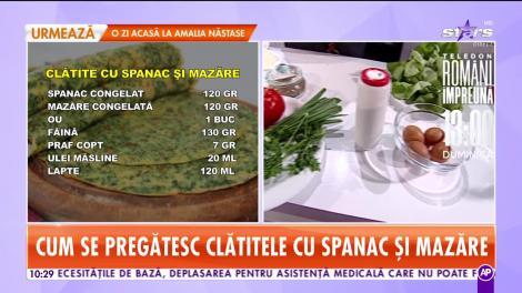 Reţeta lui Chef Munti de la Star Matinal: Clătite cu spanac şi mazăre