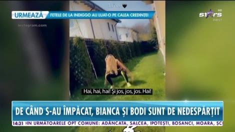 Bianca Drăguşanu şi Alex Bodi fac sport împreună în curtea casei