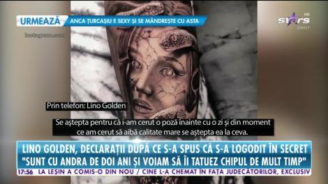 Lino Golden şi-a tatuat chipul iubitei pe braţ