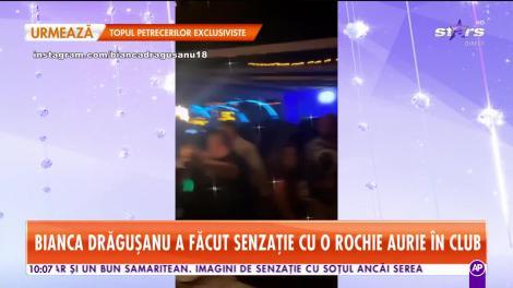 Bianca Drăgușanu a făcut senzație cu o rochie aurie în club