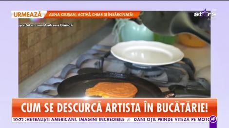 Andreea Bănică a făcut show total în bucătărie! Vezi rețeta clătitelor curcubeu!