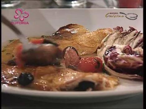 Biban in crusta de cartofi cu sos mediteranean