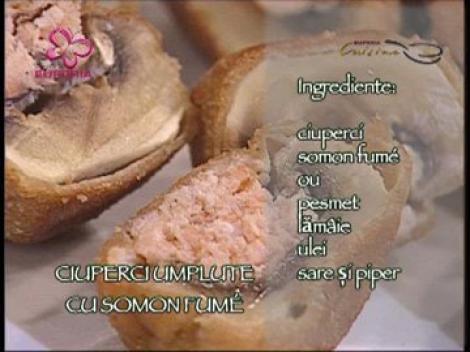 Ciuperci umplute cu somon fume